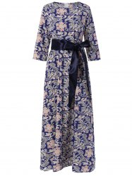Maxi 3/4 Sleeve Retro Print Belted Dress - PURPLISH BLUE XL