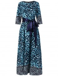 Leopard Print Long Prom Evening Dress