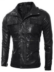 Slim-Fit Multi Pocket Design PU Leather Jacket
