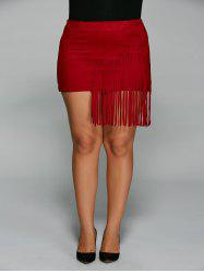 Plus Size Fringed Faux Suede Skirt
