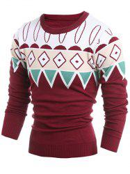 Geometric Pattern Ribbed Crew Neck Sweater