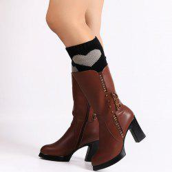 Warm Stripy Heart Knit Boot Cuffs - BLACK