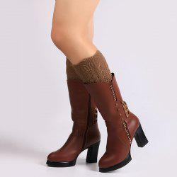 Warm Crochet Sipder Knit Boot Cuffs - DEEP BROWN