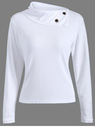 Ribbed Button Embellished T-Shirt -