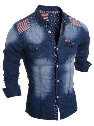 Flag Pattern Striped Snap Button Jean Shirt - DEEP BLUE 2XL