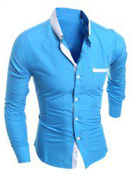 Contrast Collar Breast Pocket Button-Down Shirt -