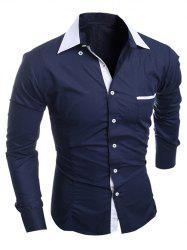 Contrast Collar Breast Pocket Button-Down Shirt - CADETBLUE