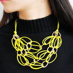 PU Leather Woven Interlace Necklace Set - YELLOW