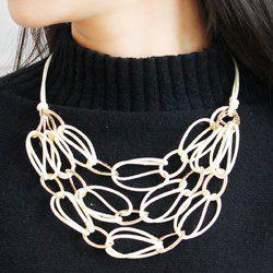 PU Leather Woven Interlace Necklace Set - WHITE