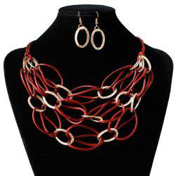 PU Leather Woven Interlace Necklace Set - DEEP RED