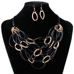 PU cuir tressé Interlace Collier Set -