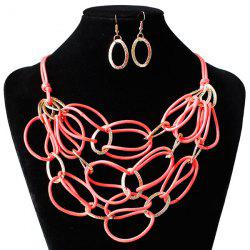 PU cuir tressé Interlace Collier Set - Pastu00e8que Rouge