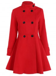 Double Breasted Skirted Coat - RED