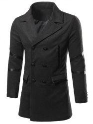Back Vent Notch Lapel Faux Leather Insert Pea Coat