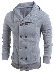 Long Sleeve Side Pocket Double Breasted Hoodie - LIGHT GRAY