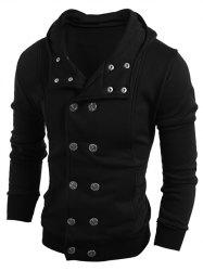 Long Sleeve Side Pocket Double Breasted Hoodie - BLACK