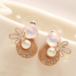 Faux Pearl Rhinestone Moon Flower Earrings