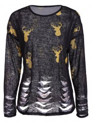 Deer Print Ripped Top - BLACK 2XL