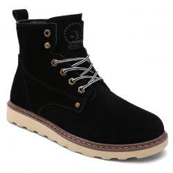 Eyelet Lace-Up Suede Short Boots - BLACK
