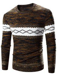 Crew Neck Rhombus Splicing Pattern Long Sleeve Sweater