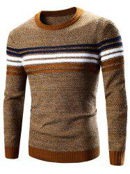 Crew Neck Striped Splicing Pattern Long Sleeve Sweater - EARTHY