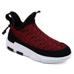 Platform Slip-On Color Block Athletic Shoes - RED