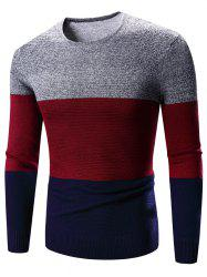 Crew Neck Color Block Splicing Long Sleeve Sweater -