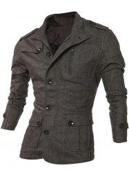 Epaulet Design Single-Breasted Pockets Jacket - COFFEE