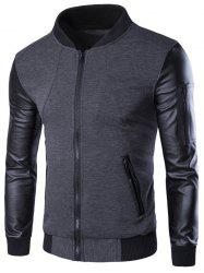 PU-Leather Splicing Zip-Up Jacket - GRAY 3XL