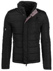 Epaulet design Elbow Patch Zip-Up Veste matelassée - Noir 5XL