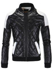Color Block Splicing Argyle Zip-Up Cotton-Padded PU-Leather Jacket - BLACK