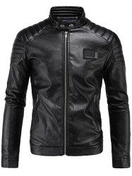Rib Splicing Zip-Up Applique PU-Leather Jacket - BLACK 5XL