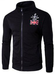 Stand Collar Anchor and Union Jack Print Zip-Up Jacket - BLACK 2XL