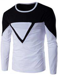 Crew Neck Color Block Triangle Applique Long Sleeve T-Shirt - BLACK