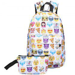 Emoji Printed Nylon Backpack - Multicolore