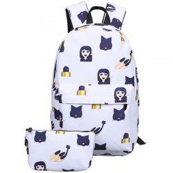 Emoji Printed Nylon Backpack -