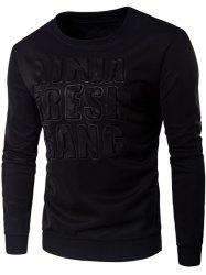 Crew Neck 3D Graphic Emboss Long Sleeve Sweatshirt - BLACK