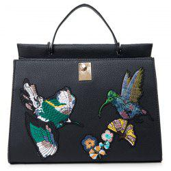 Textured PU Leather Embroidered Tote -