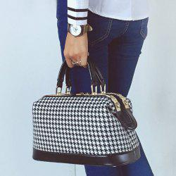 PU Splice Metal Trimmed Houndstooth Handbag -