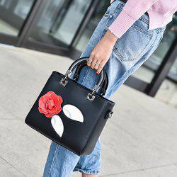 PU Leather Color Block Petals Handbag - BLACK