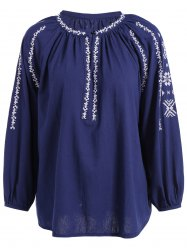 Long Sleeve Embroidered Peasant Blouse