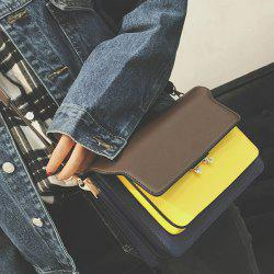 PU Leather Color Block Crossbody Bag