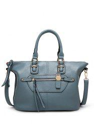Metal Zip PU Leather Handbag - BLUE