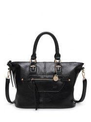 Metal Zip PU Leather Handbag -