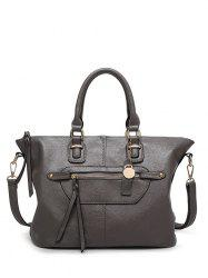 Metal Zip PU Leather Handbag