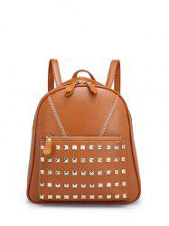 PU Leather Stitching Studded Backpack - BROWN