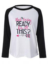 Black Friday Print Raglan Sleeve T-Shirt