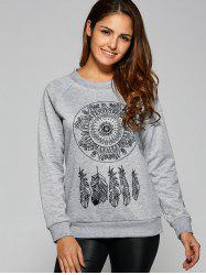 Dreamcather Print Pullover Sweatshirt - GRAY XL