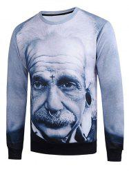 3D Einstein Figure Print Long Sleeve Sweatshirt
