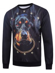 Crew Neck 3D Star Dog Printed Long Sleeve Sweatshirt